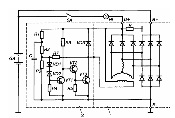 схема реле-регулятора фирмы Bosch EE14V3